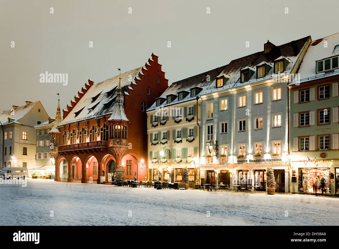 muensterplatz square in winter freiburg freiburg im breisgau stock photo royalty free image. Black Bedroom Furniture Sets. Home Design Ideas