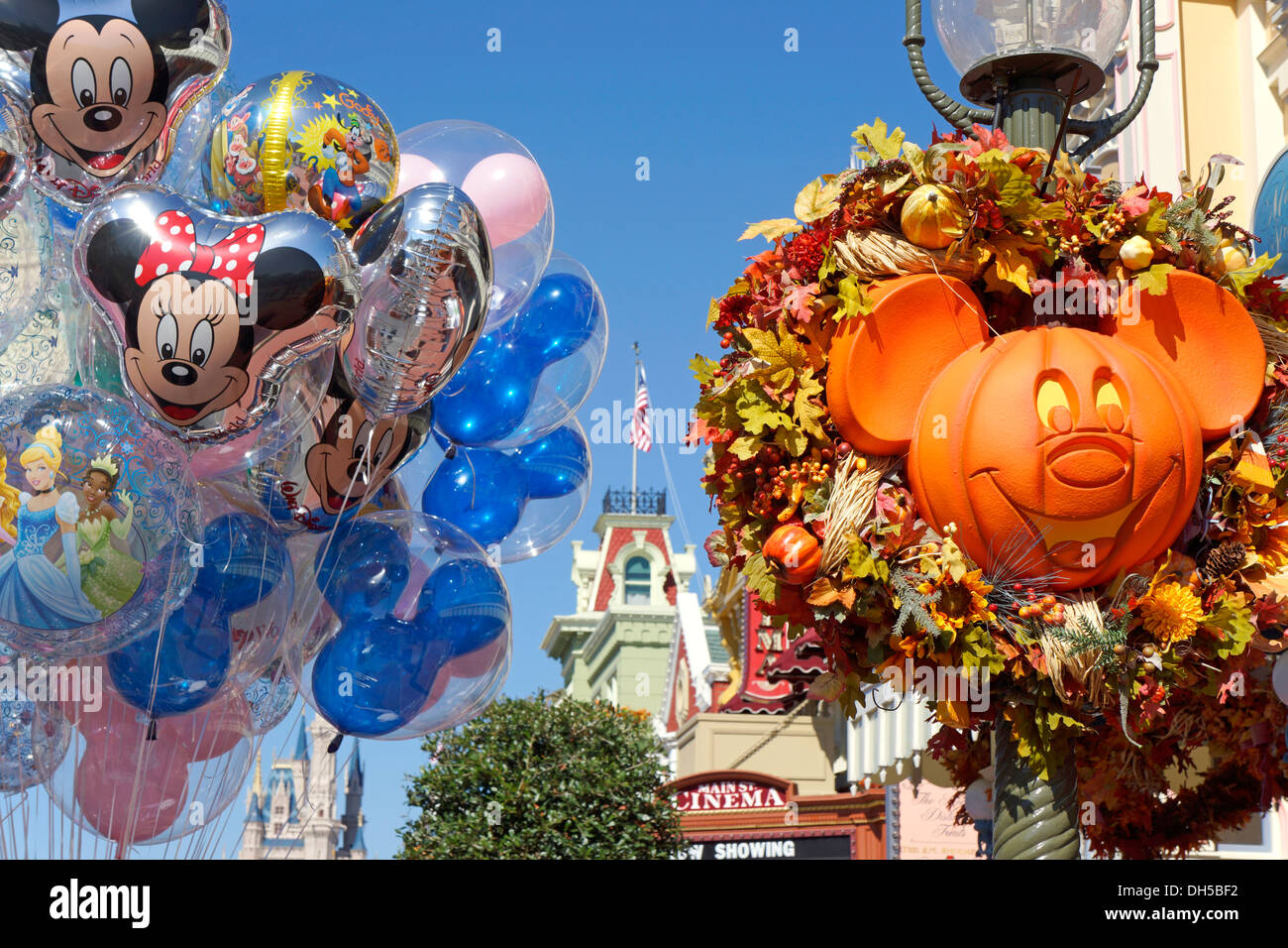 halloween at disney world resort balloons decorations pumpkin carved in shape of mickey mouse face orlando florida - Disney Halloween Orlando