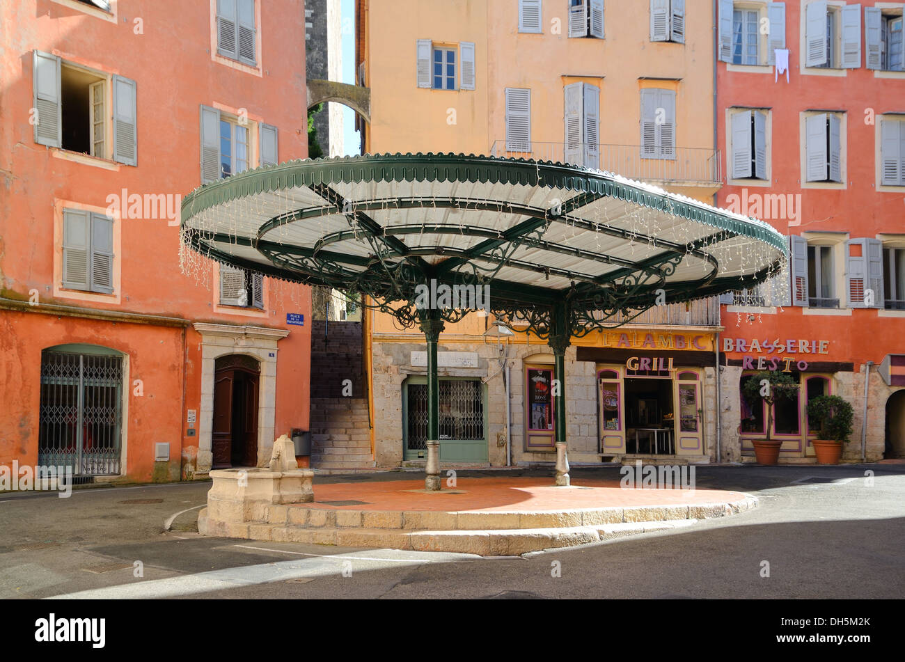 kiosk pergola sunshade or canopy in place des artistes or place de la stock photo royalty free. Black Bedroom Furniture Sets. Home Design Ideas
