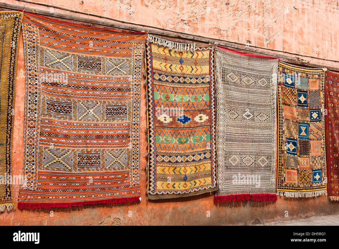 Hanging Rugs Carpets Or Rugs With Arab And Berber Symbols And Patterns Hanging