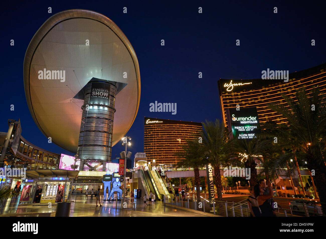 Stock photo ufo look at the fashion show shopping mall at night luxury hotel wynn casino encore paradise las vegas nevada