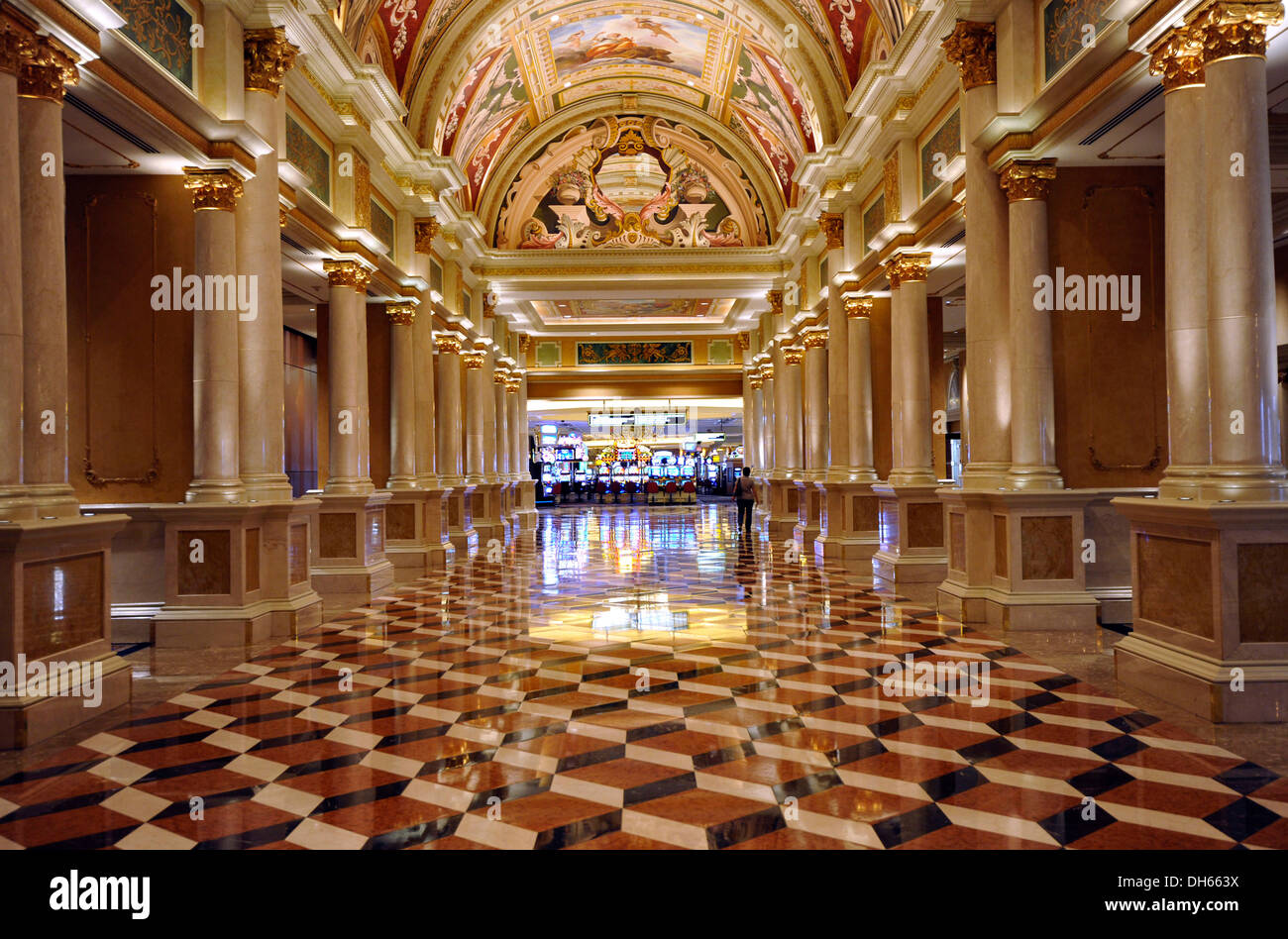 Hallway in front of a casino 5 star luxury hotel the venetian casino