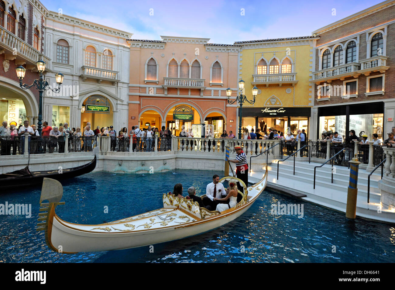 Tourists In A Replica Of Venetian Streets Under An Artificial Sky Wedding Gondola Ceremony Grand Canal