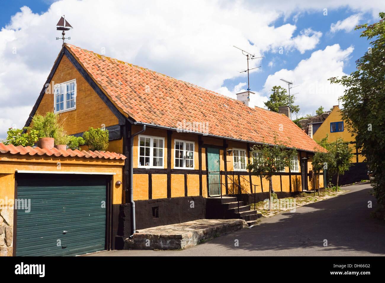 Timber Framed Houses In Gudhjem Village Bornholm Denmark