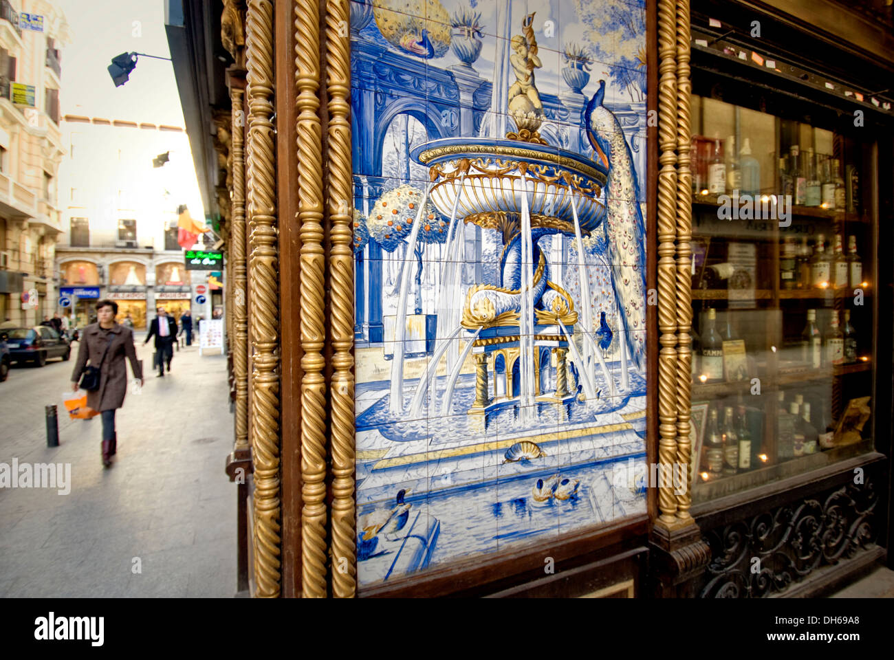 Azulejos Painted Tiles On The Facade Of A Bar Madrid De