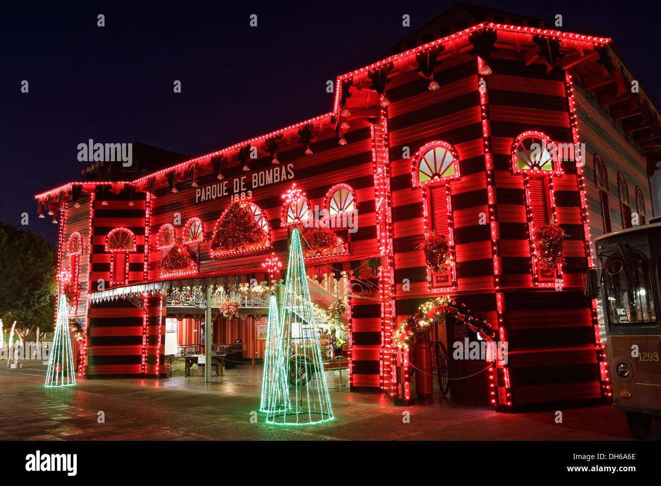 Firehouse (Parque de Bombas, 1883) and Christmas lights, Ponce ...