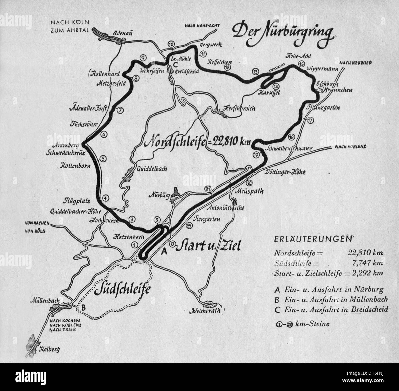 A Map Of The Nurburgring Circuit From The S Germany Stock - Germany map nurburgring