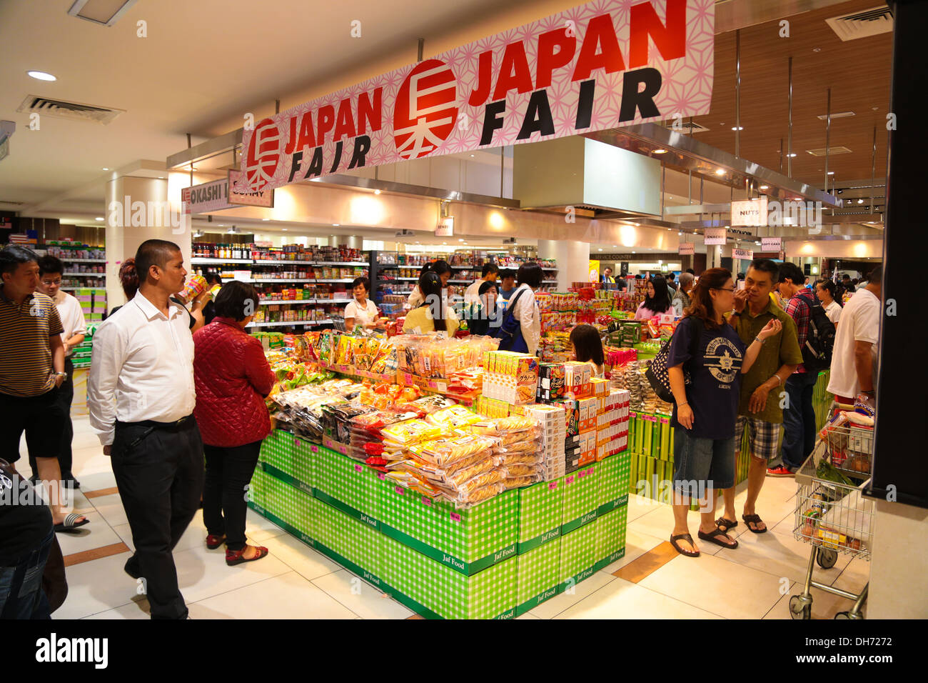 japanese food fair at a shopping market in malaysia stock