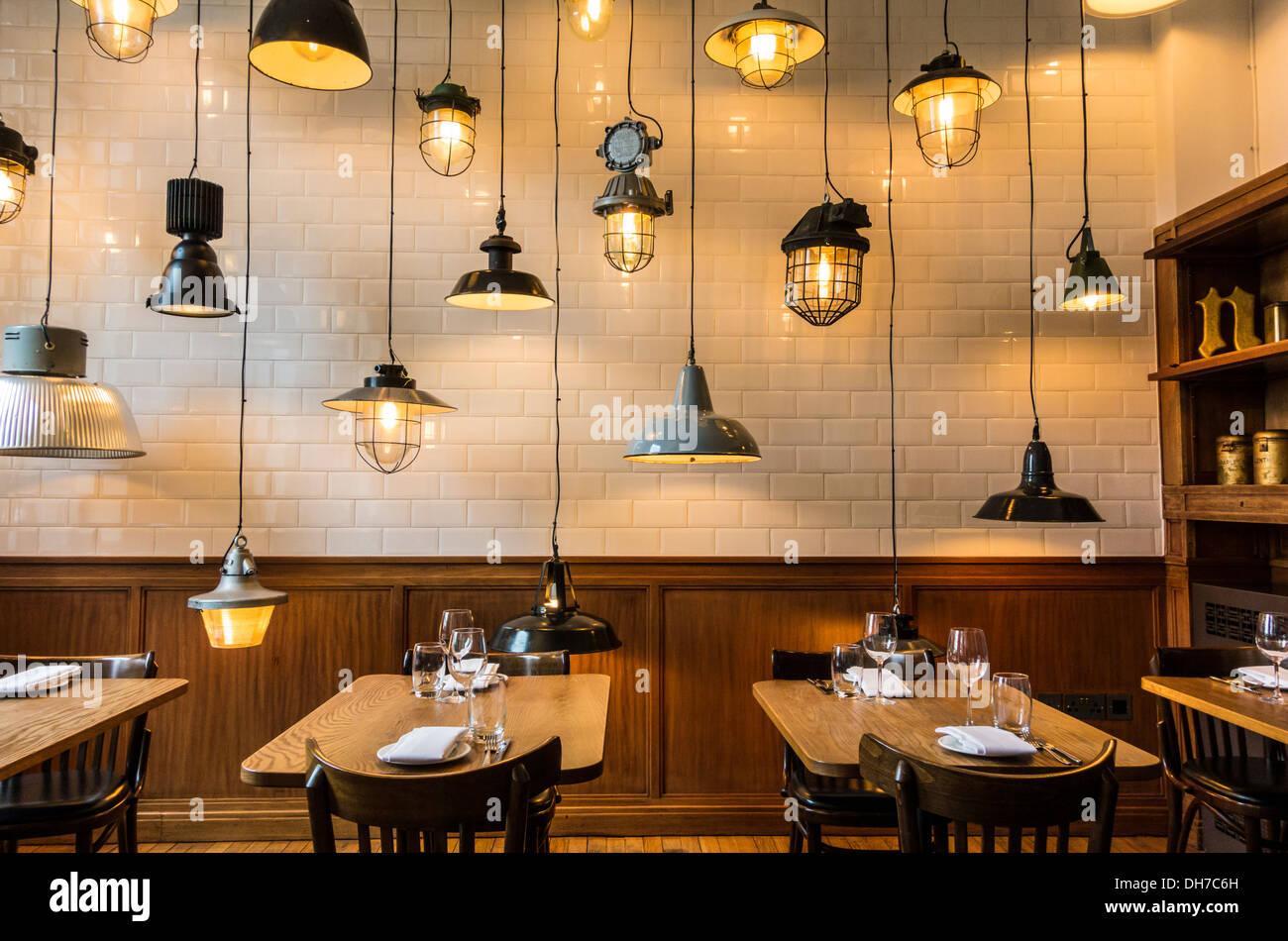 restaurant interior. the green room, london, united kingdom stock