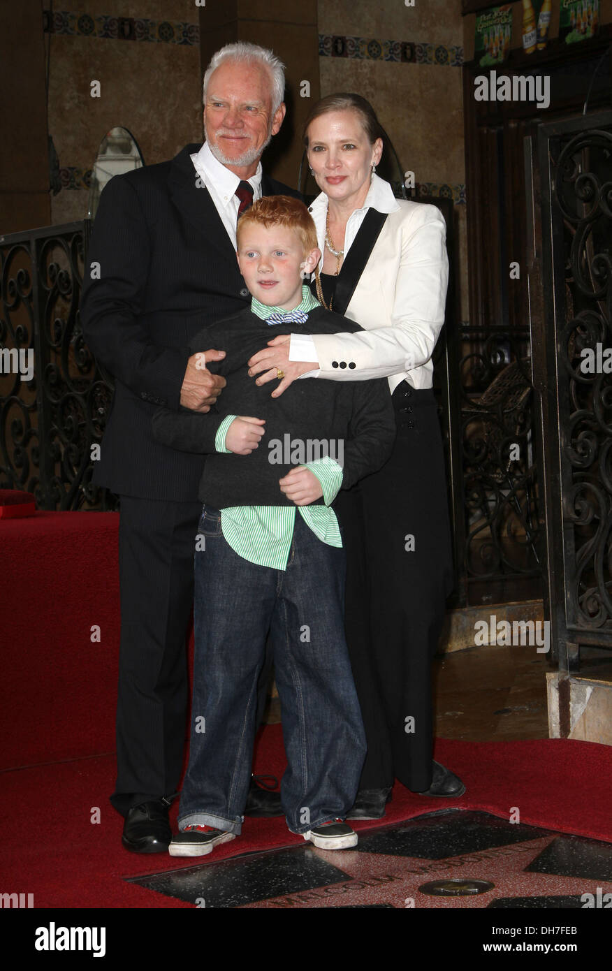 Malcolm mcdowell with his wife kelley and son beckett hollywood walk of fame honors malcolm mcdowell on hollywood boulevard