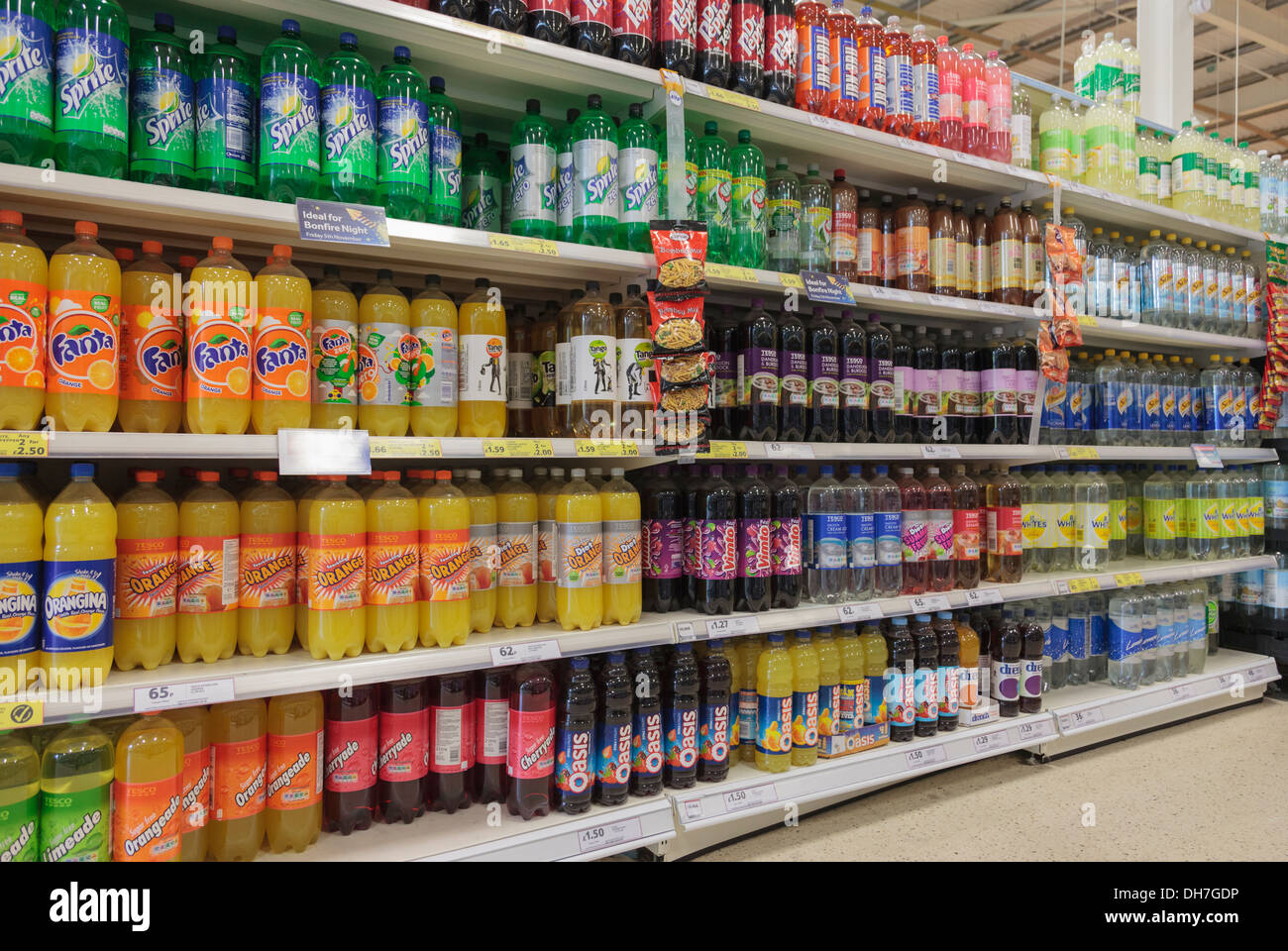A Variety Of Bottles Of Fizzy Soft Drinks For Sale On A