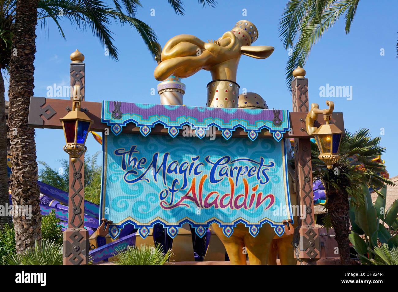 The magic carpets of aladdin sign to rides at magic for Aladdin carpet ride magic kingdom
