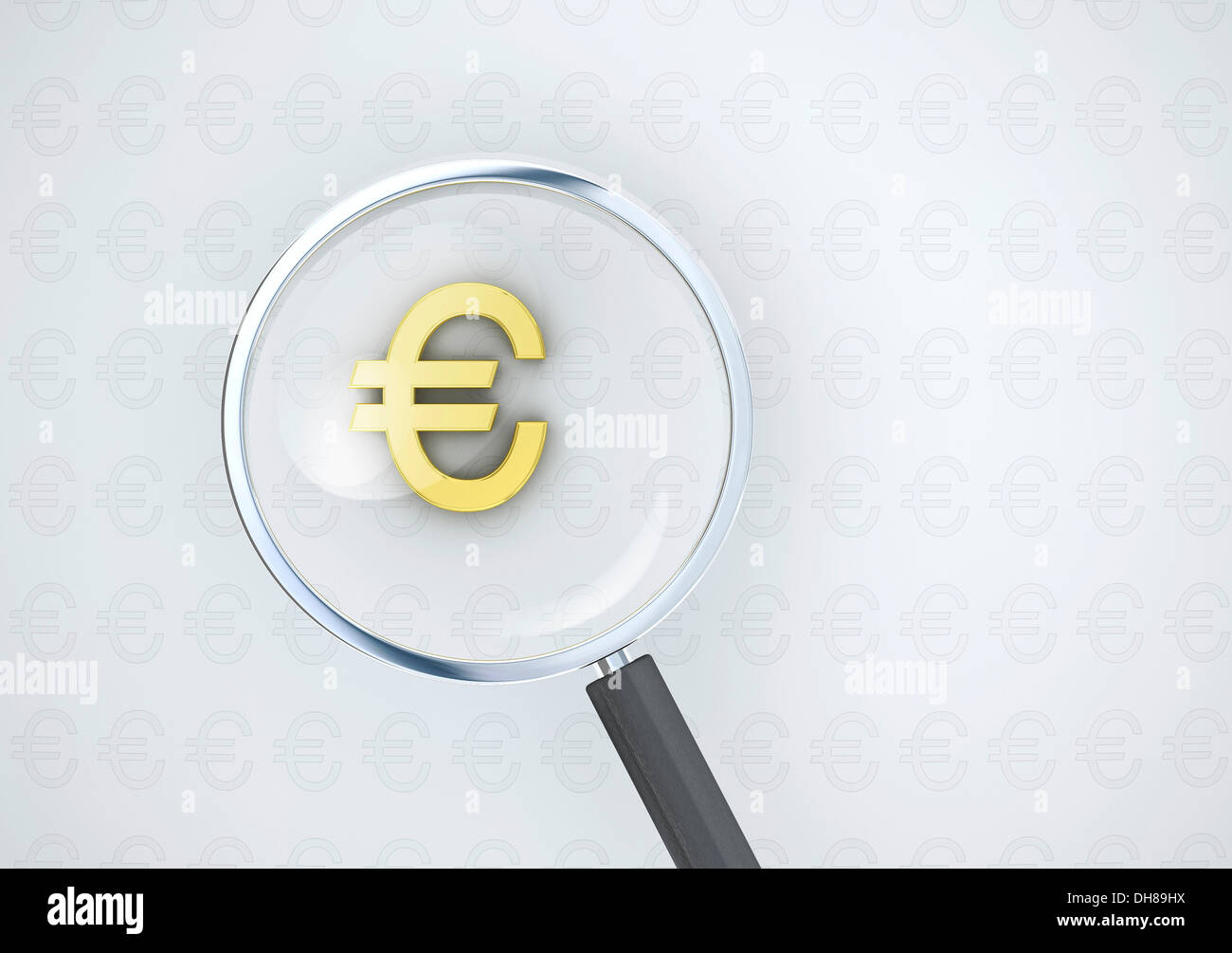Magnifying glass with a golden euro symbol conceptual image for magnifying glass with a golden euro symbol conceptual image for currency dominance or exchange rates biocorpaavc