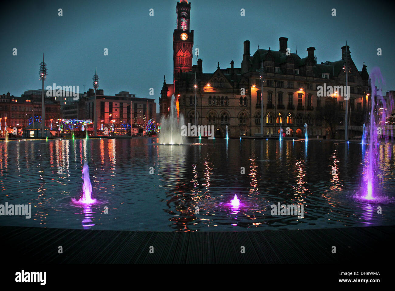 Bradford City Park, England at night with christmas lights ...