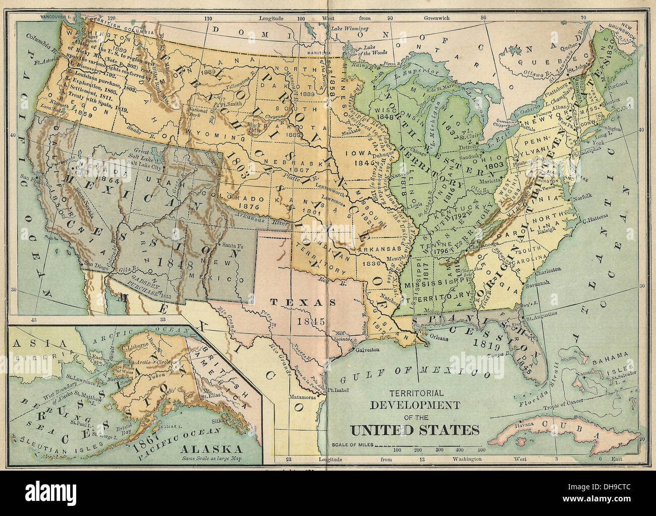 Territorial Development Of The United States America Map Circa - Us map 1890