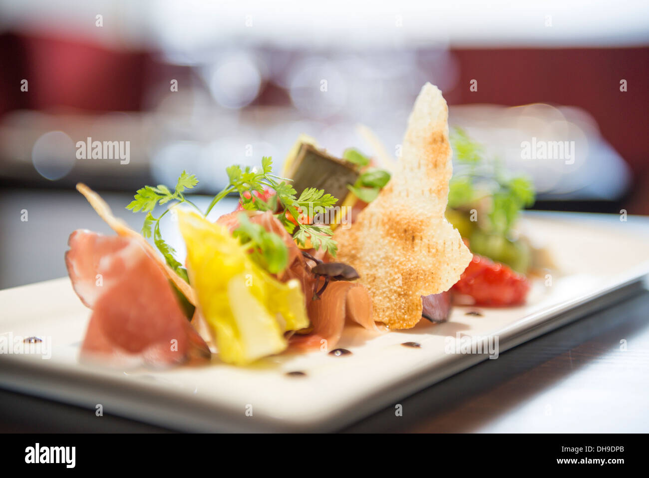Prosciutto ham and vegetable starter food from a fine for Fine dining food