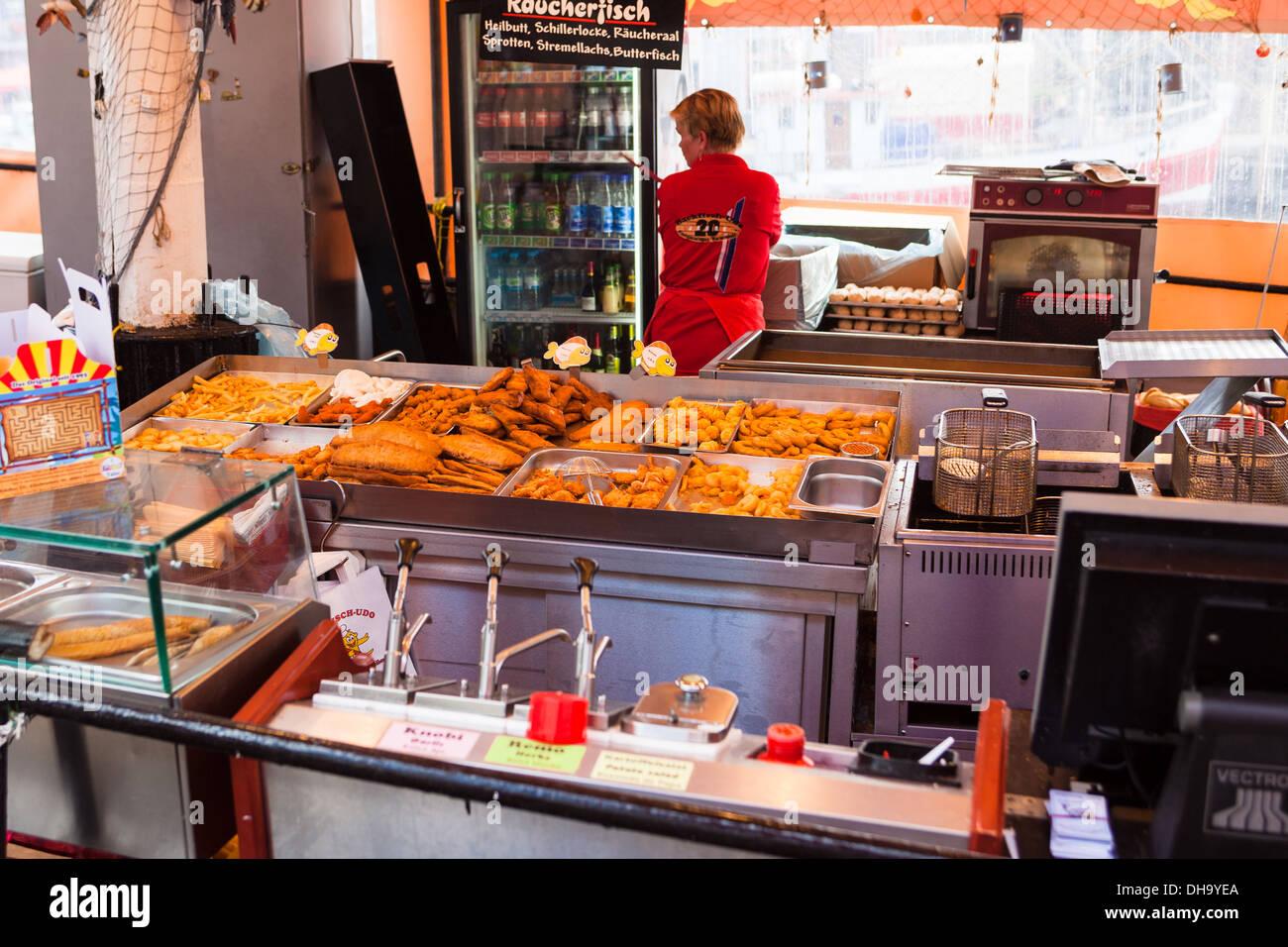 fish and chips shop on riverside boat warnemunde rostock germany stock photo royalty free. Black Bedroom Furniture Sets. Home Design Ideas