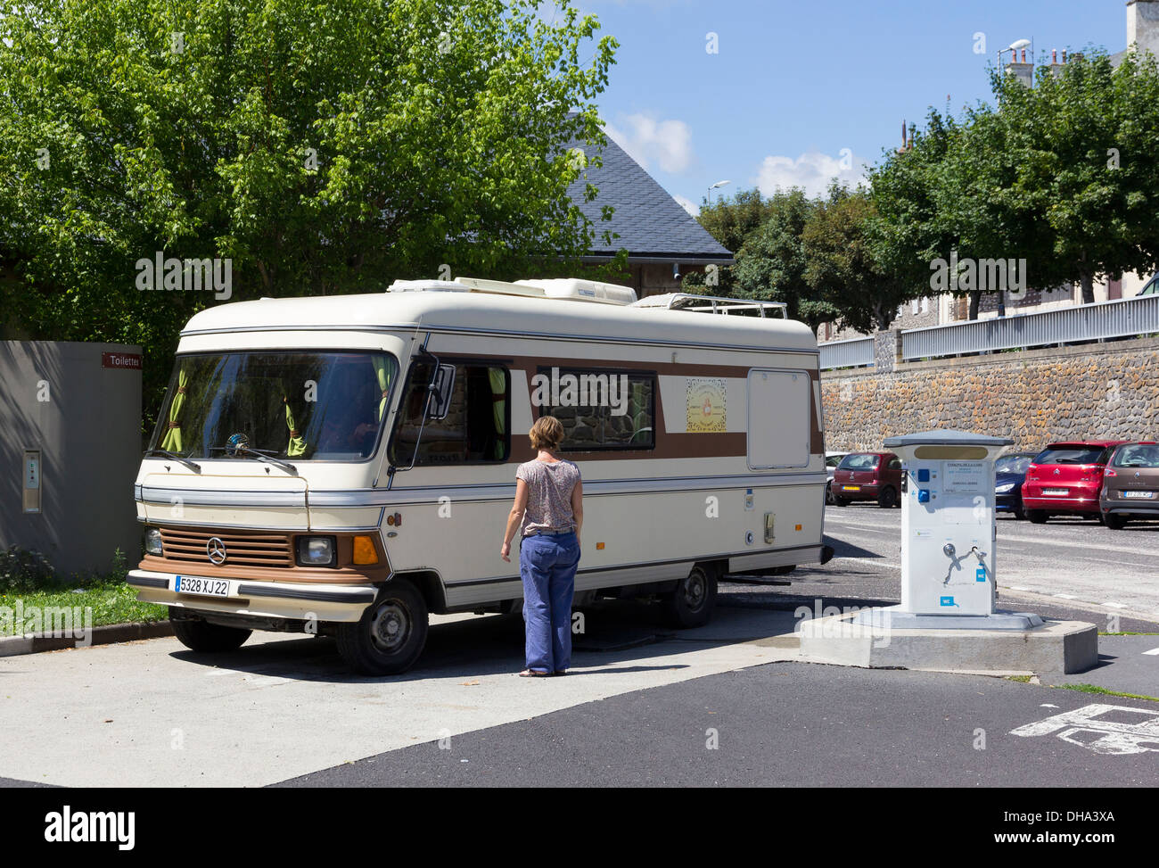 a vintage mercedes motorhome at a service point camping car aire de stock photo royalty free. Black Bedroom Furniture Sets. Home Design Ideas