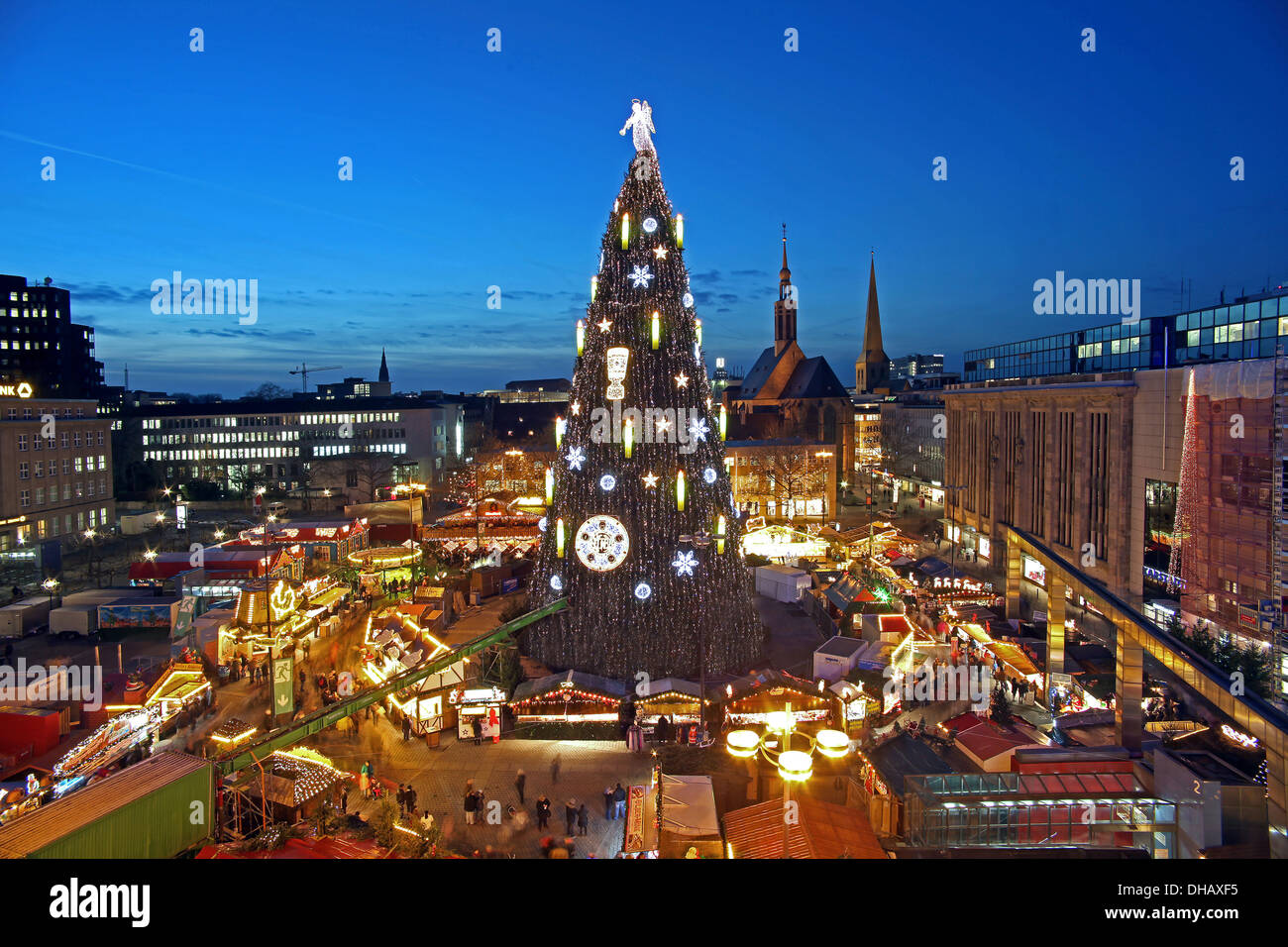 dortmund germany the worlds largest christmas tree on the. Black Bedroom Furniture Sets. Home Design Ideas