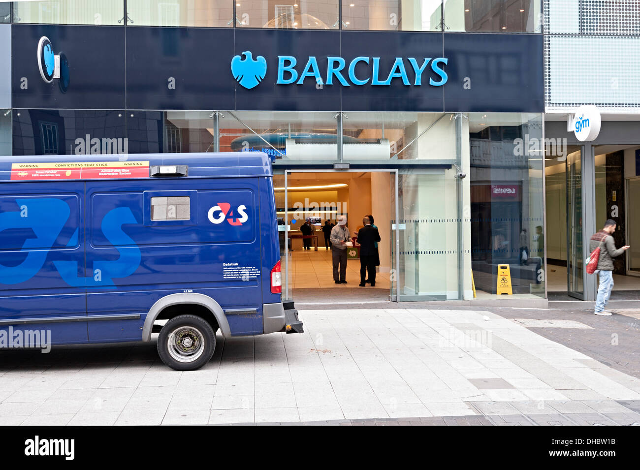 G4s Security Money Van Outside Barclays Bank Branch