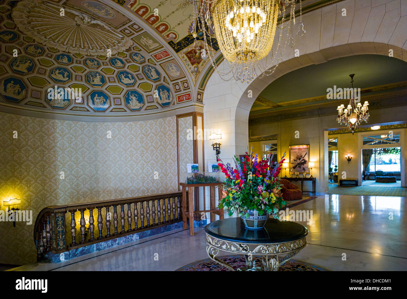 Elaborate chandelier and interior view of the broadmoor historic luxury hotel and resort colorado