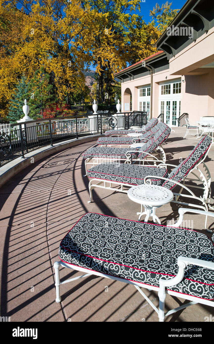 Chaise lounge chairs on patio the broodmoor historic luxury hotel and resort colorado springs colorado usa