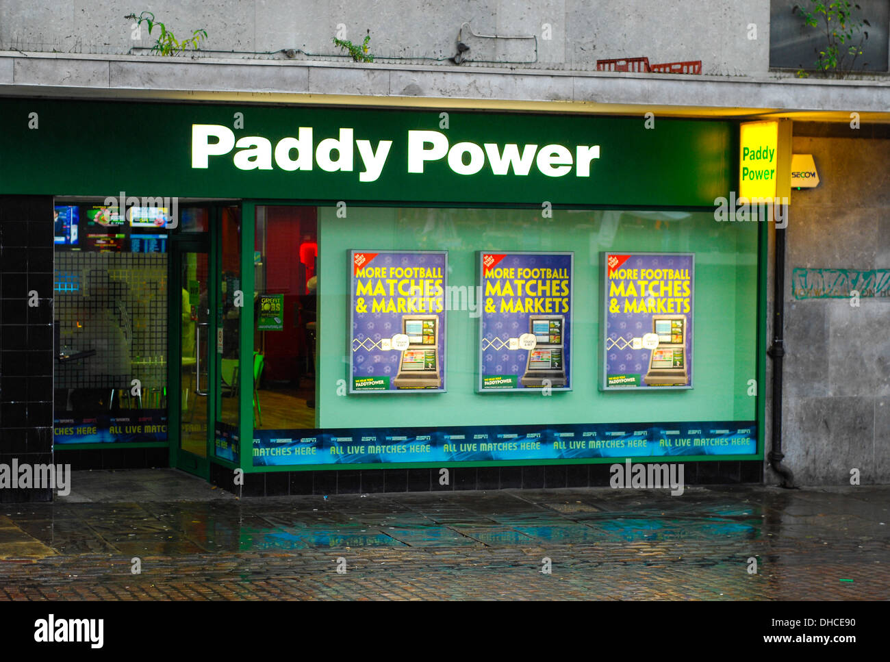 Paddy power betting shop stock image