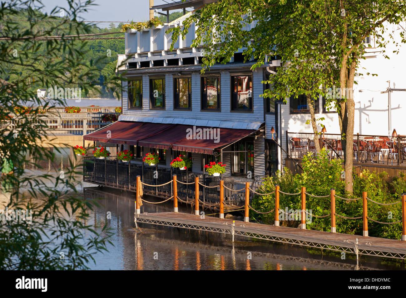 Restaurant outdoor deck next to lake massawippi north
