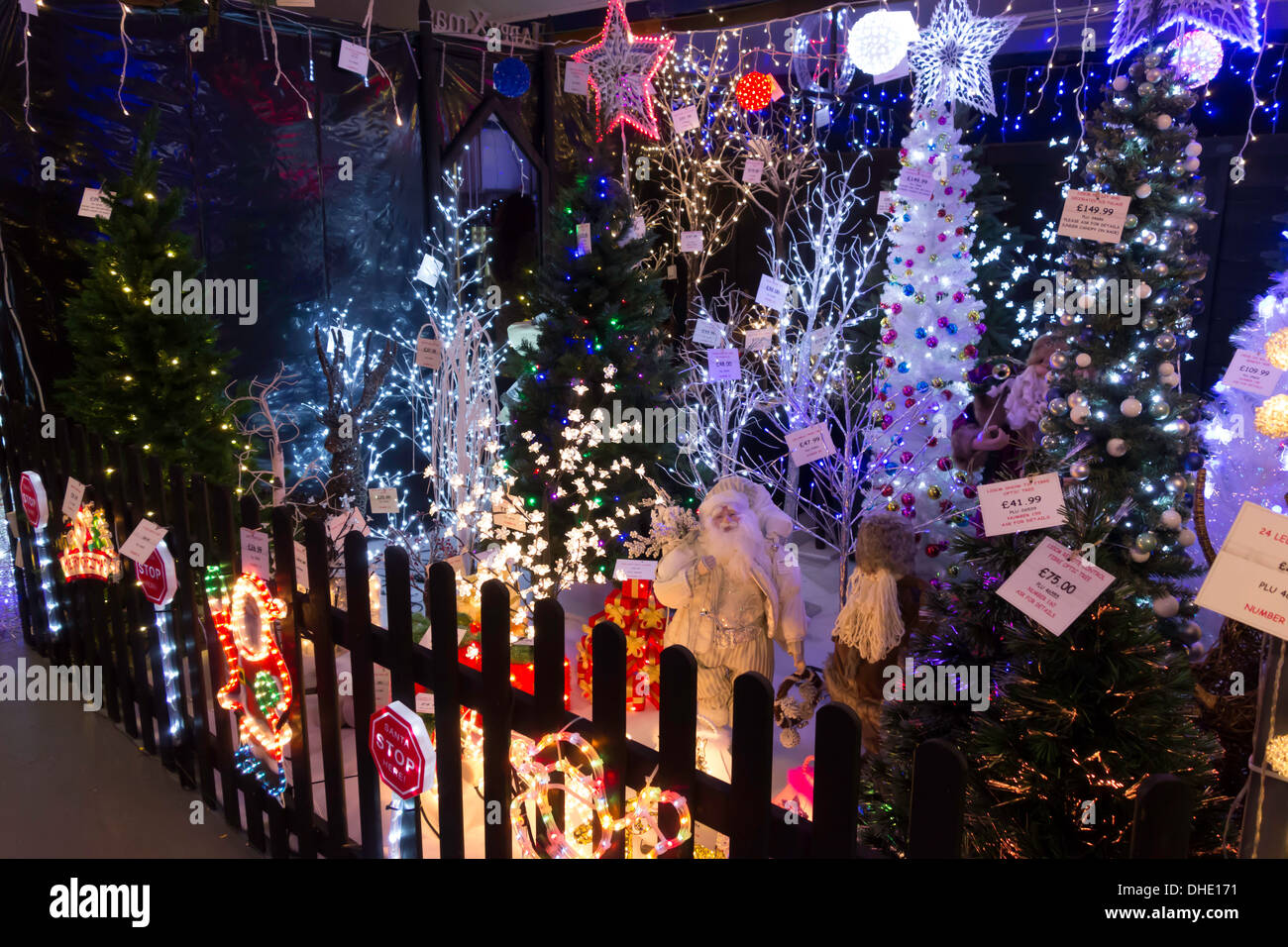 Garden decorations for sale - Display Of Illuminated Christmas Decorations For Sale In A Garden Centre