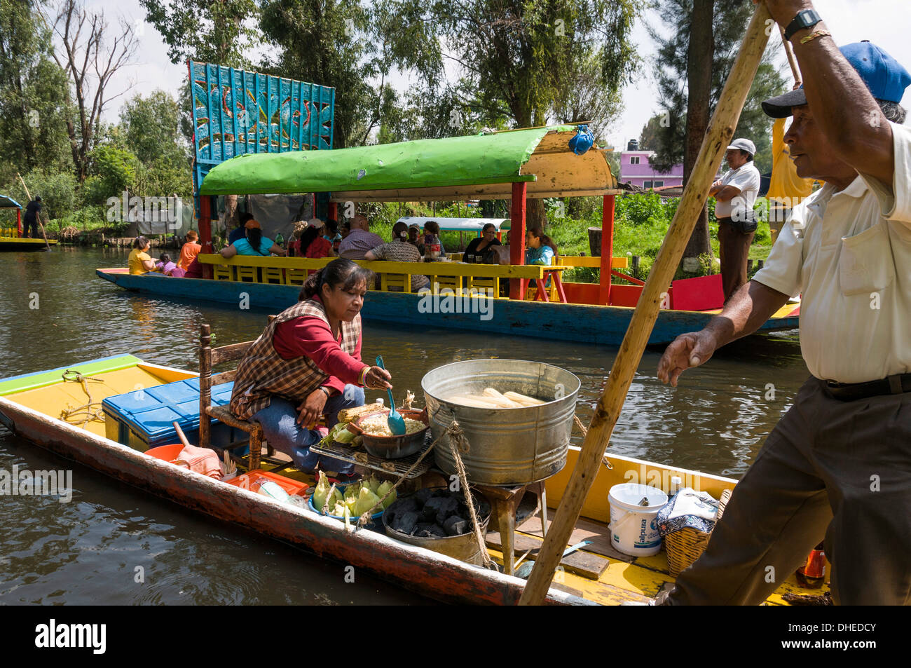 Food Vendor At The Floating Gardens In Xochimilco Unesco World Stock Photo Royalty Free Image