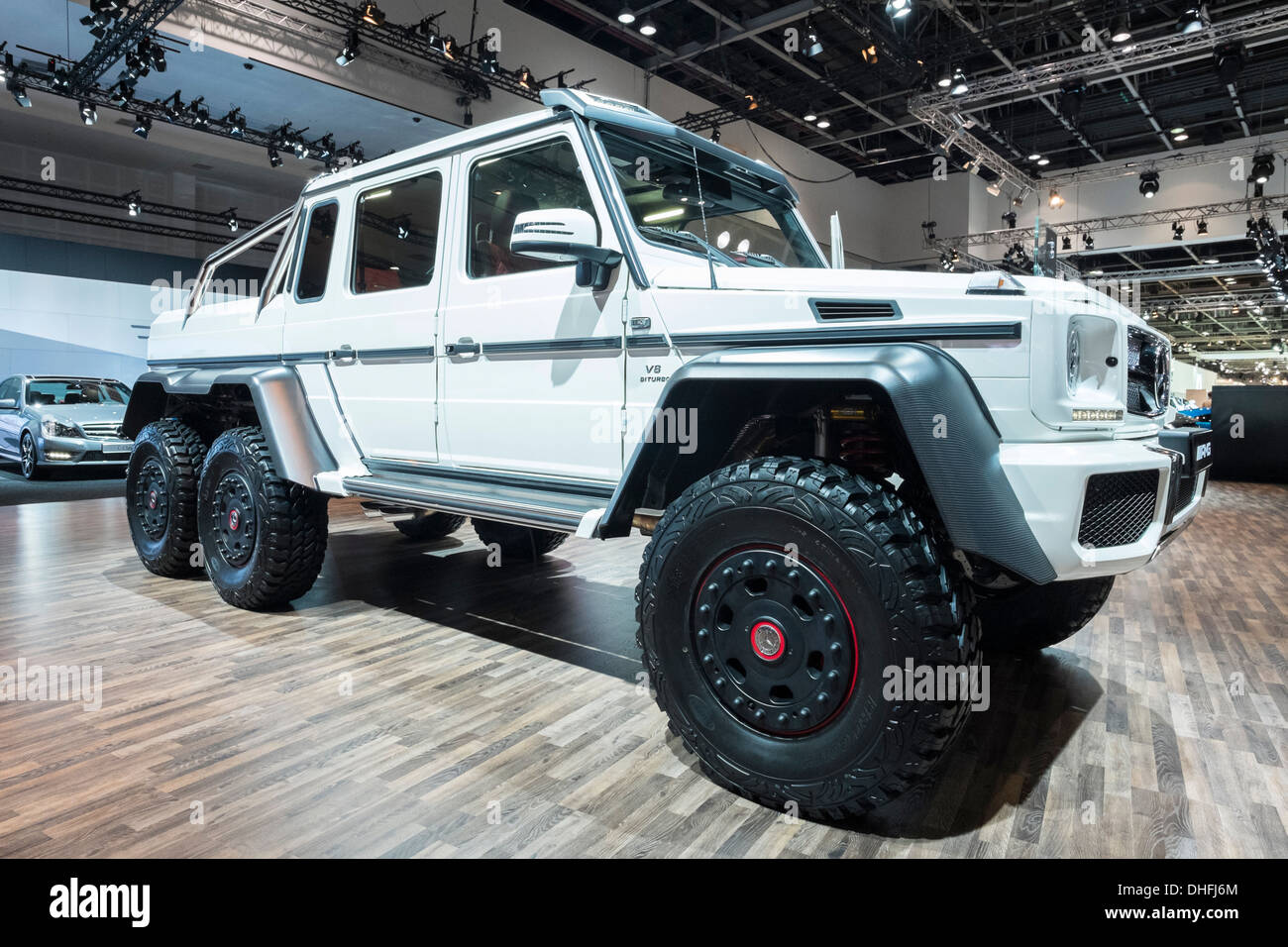 mercedes g63 amg 6x6 vehicle at the dubai motor show 2013 united arab stock photo 62423836 alamy. Black Bedroom Furniture Sets. Home Design Ideas