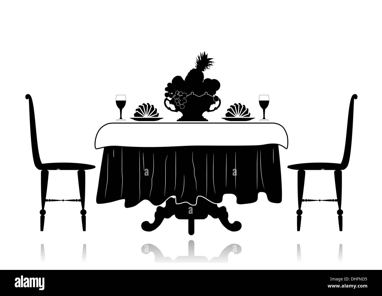 Restaurant tables and chairs clipart - Silhouette Restaurant Table With Chairs A Tablecloth A Vase With Fruit Napkins And Glasses