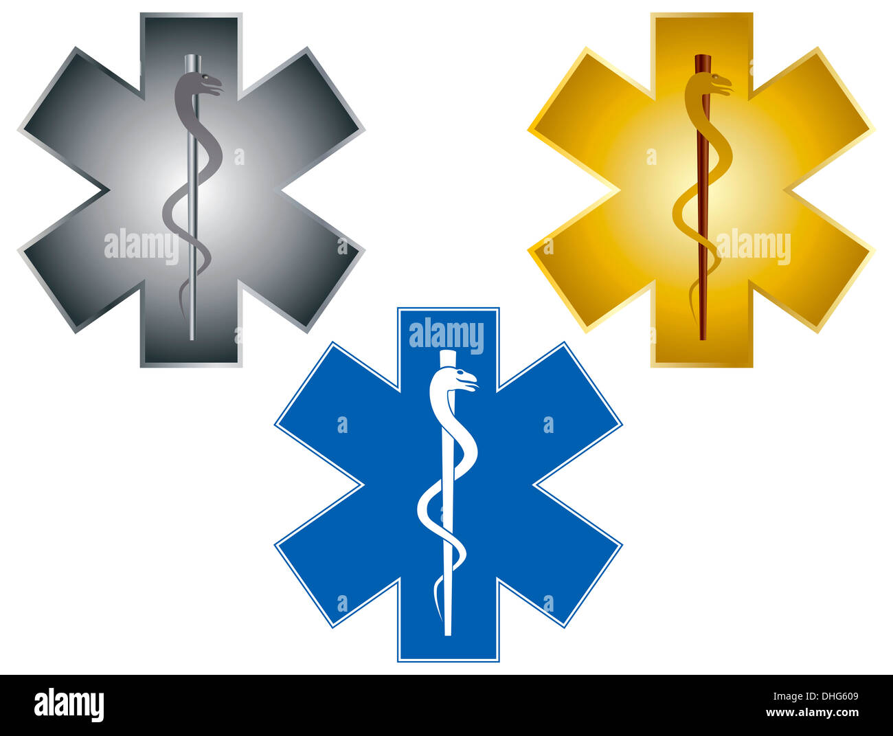A gold rod of asclepius medical symbol or symbol featuring a snake star of life rod of asclepius medical symbol for ambulance isolated on white background illustration buycottarizona Image collections