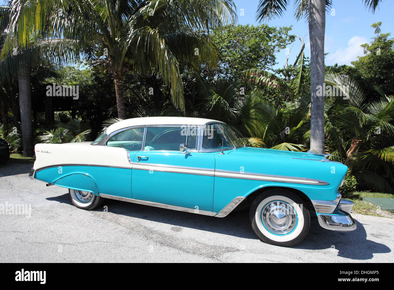 Blue and white Chevrolet Bel air classic American car Stock Photo ...