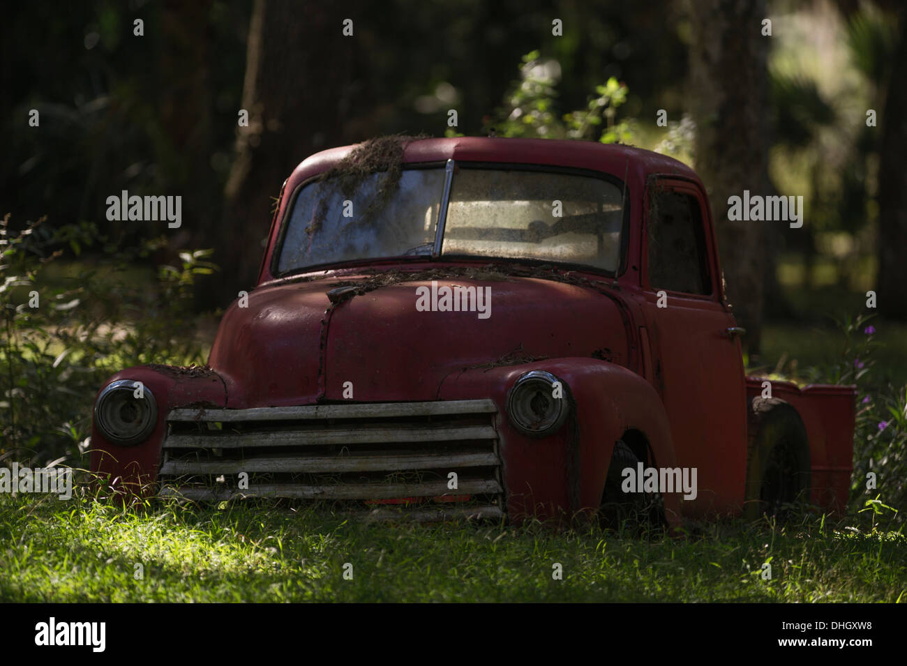 An old Chevrolet pickup truck being use as decoration on private ...