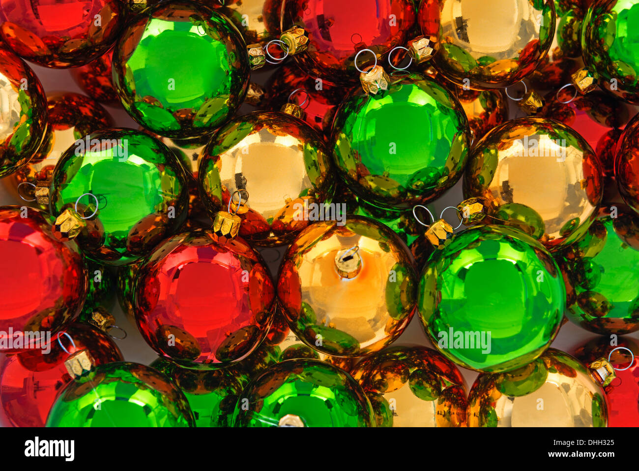 Red And Green Christmas Decorations - Red green and gold christmas baubles