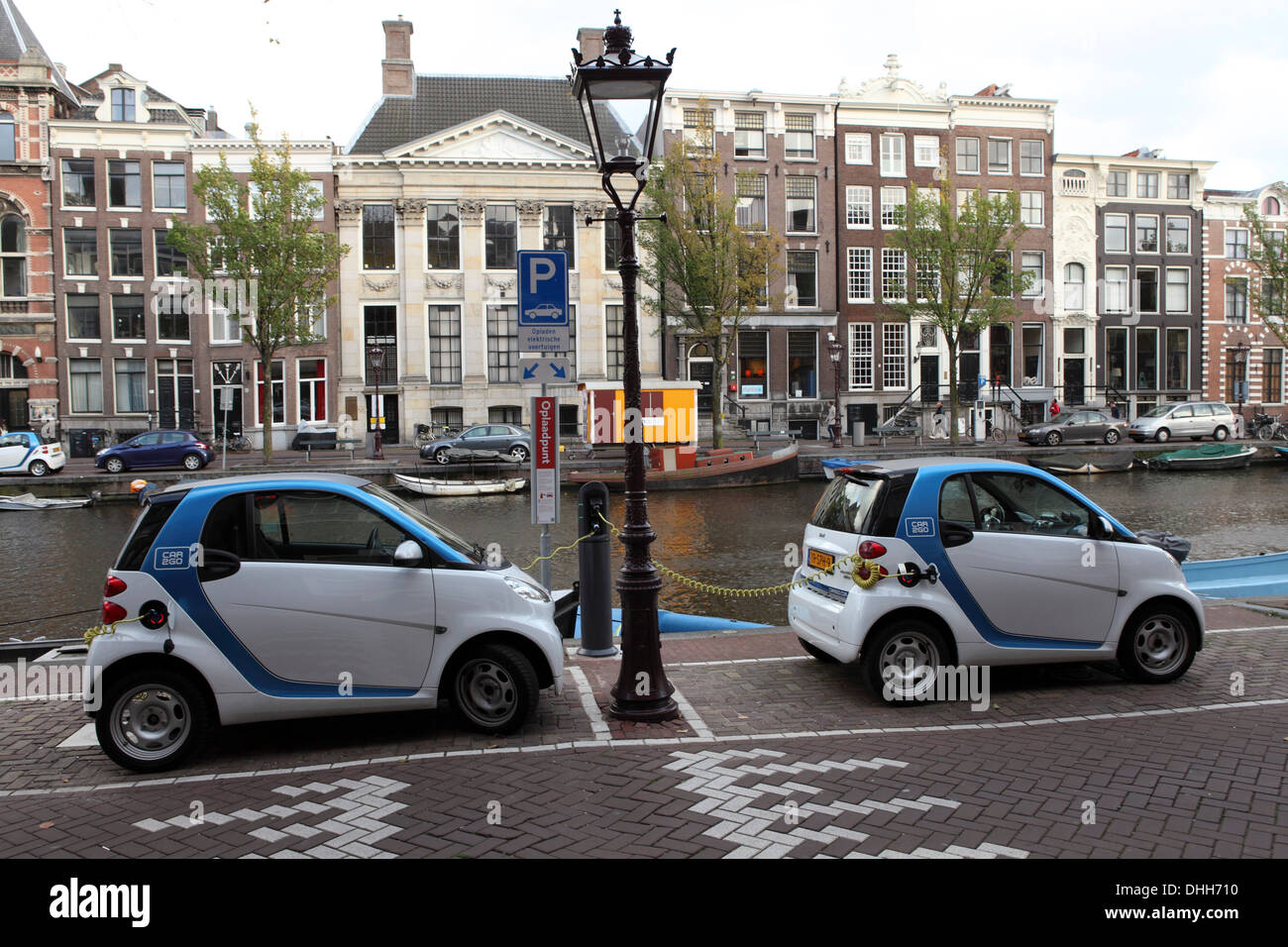 Electric Cars Charging In Amsterdam The Netherlands Stock Photo