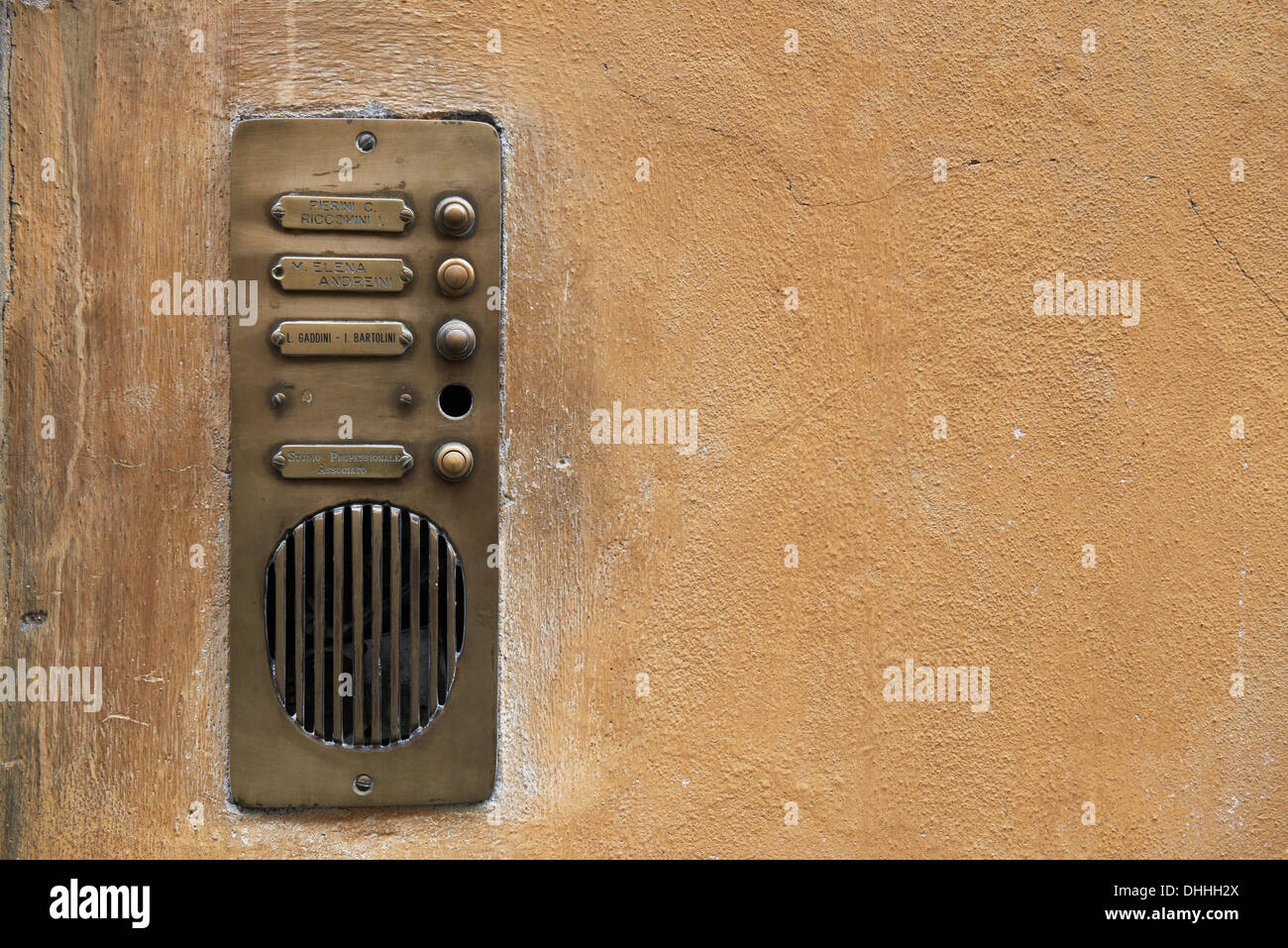 Stock Photo   Old Fashioned Brass Door Bell Intercom On A Wall