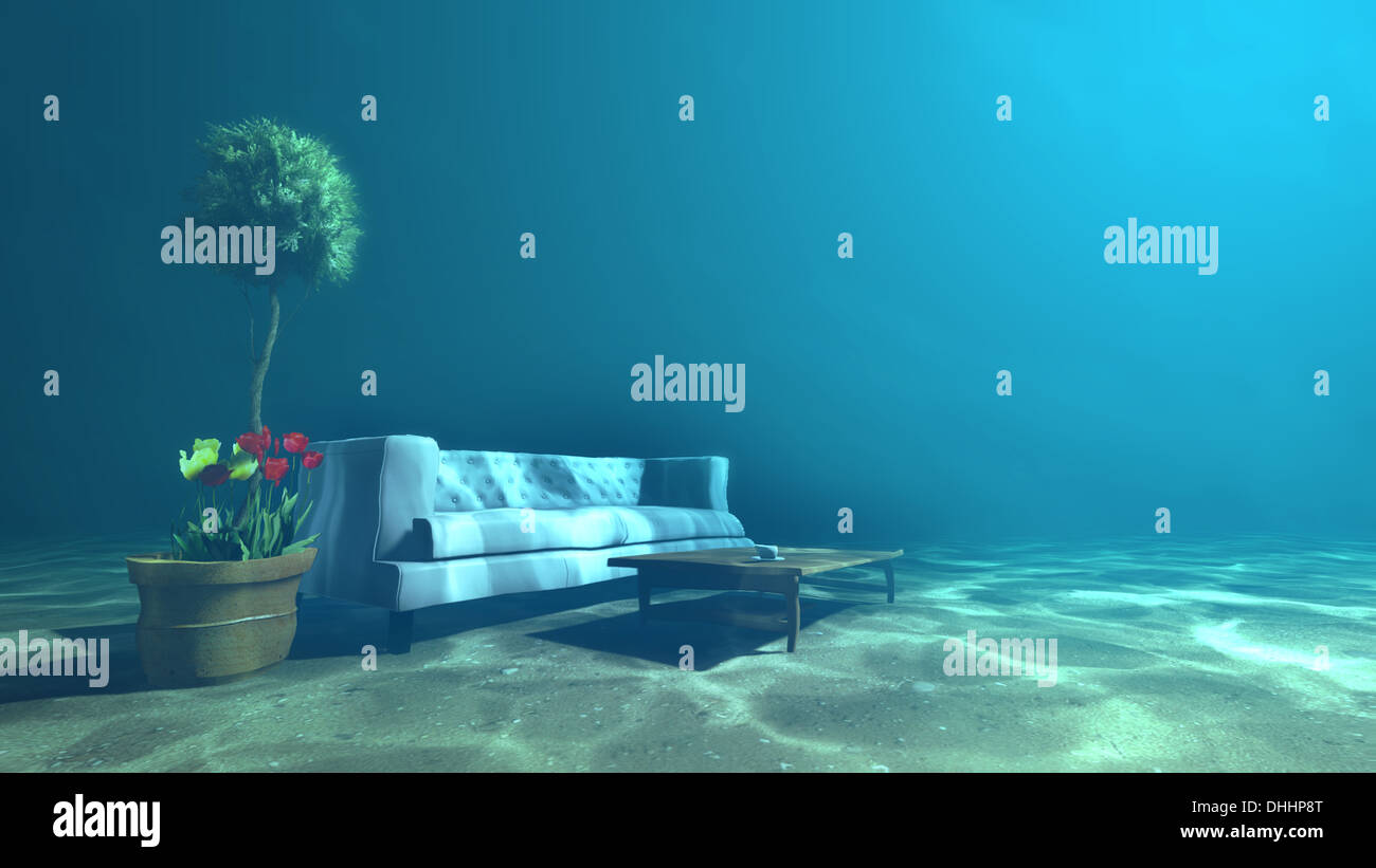 Living Room Underwater For Relaxation Concept