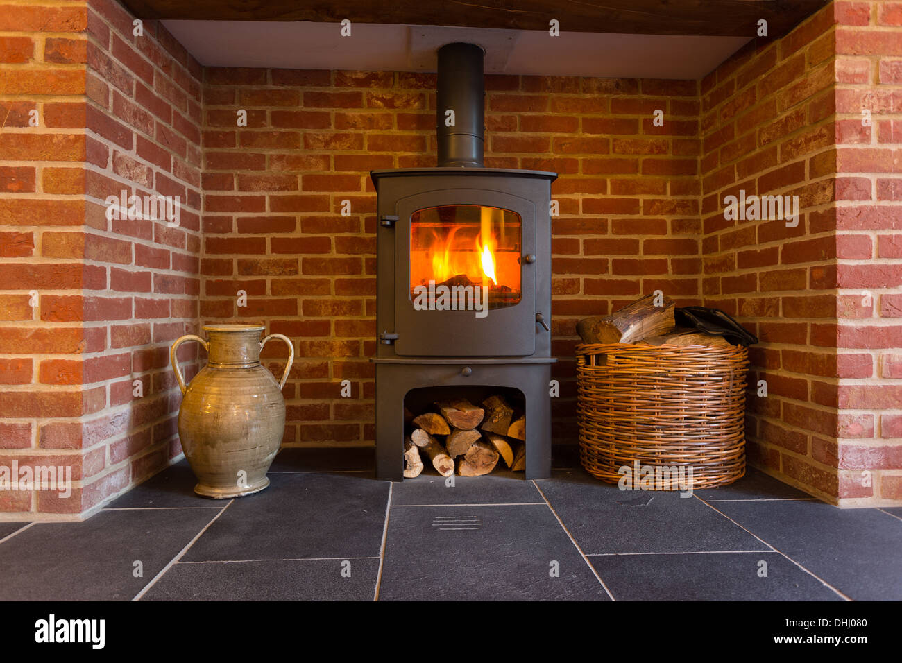 Traditional wood burning stove in a house in the district of Stock