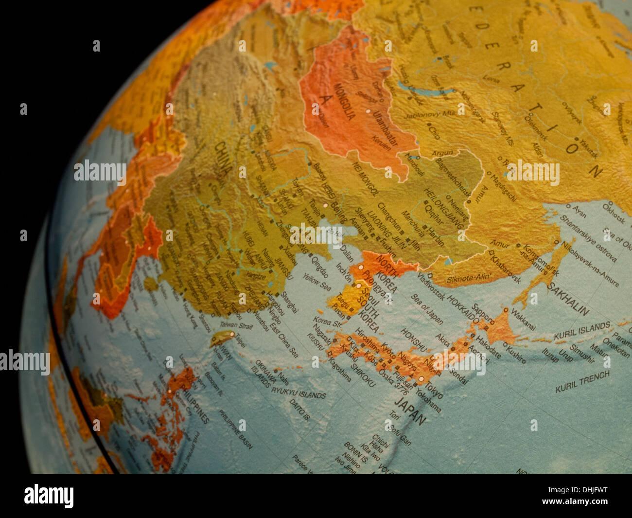 A view of japan south korea north korea and china on a beautiful a view of japan south korea north korea and china on a beautiful illuminated globe gumiabroncs Choice Image