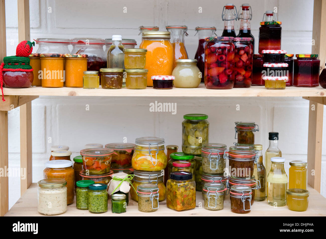 food larder with shelves of homemade products homemade