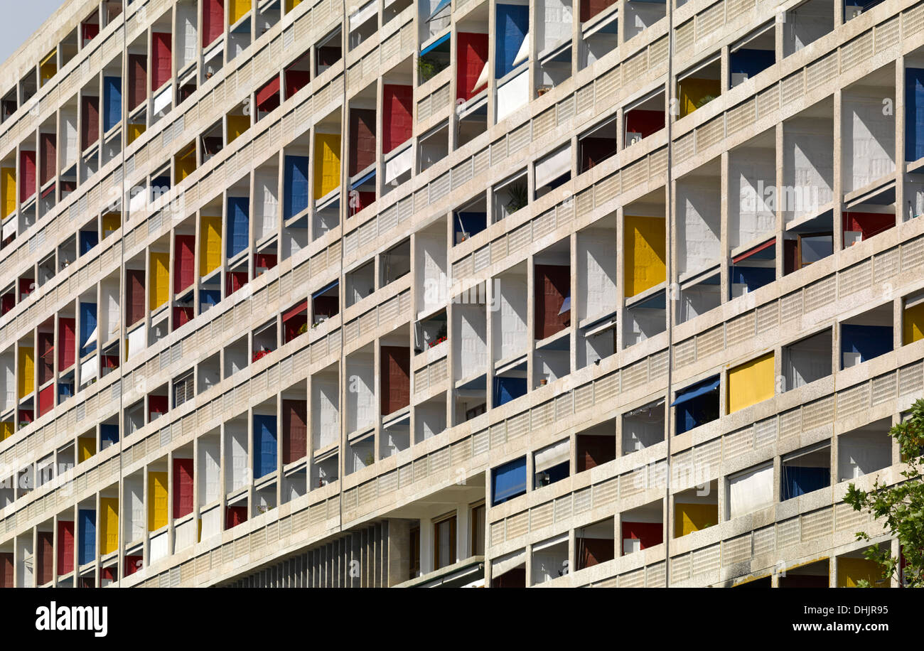 unite d 39 habitation marseille france architect le corbusier 1952 stock photo picture and. Black Bedroom Furniture Sets. Home Design Ideas