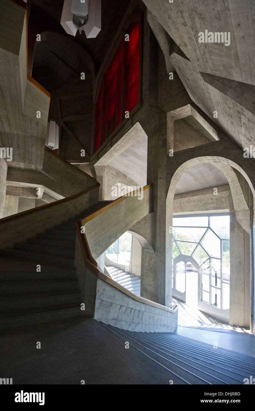 staircase in the goetheanum architect rudolf steiner. Black Bedroom Furniture Sets. Home Design Ideas