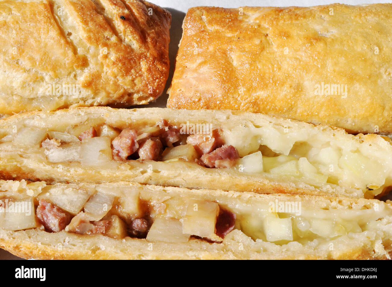 Bedfordshire clanger showing ingredients Stock Photo ...