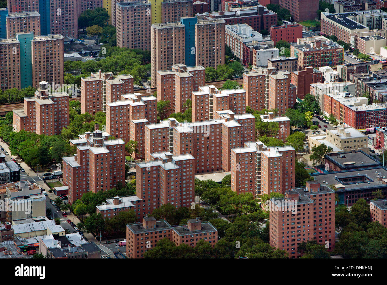 aerial photograph residential high rise apartment buildings Harlem