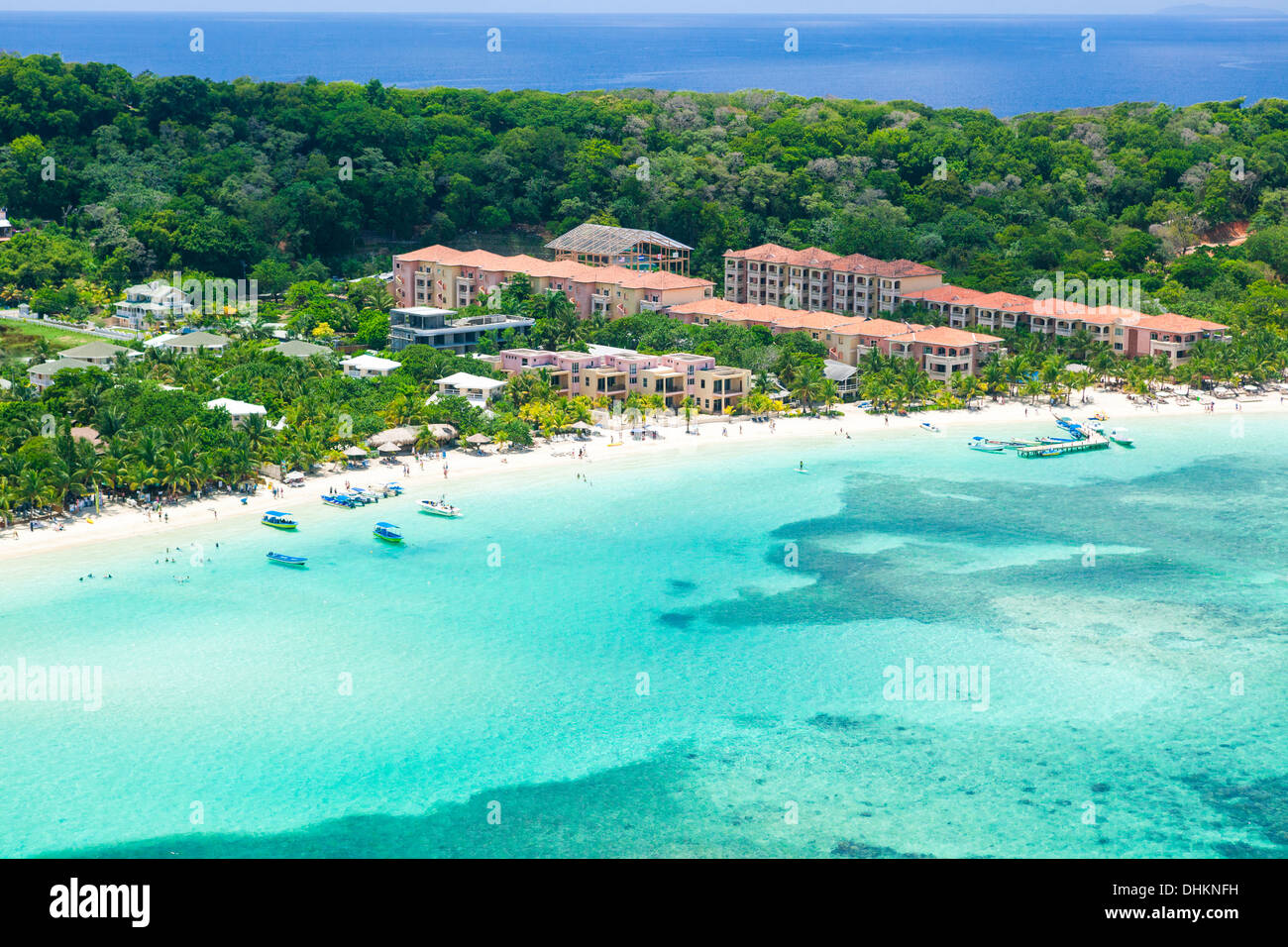 Aerial View Of Coral Reef Beach And Hotels On Roatan S