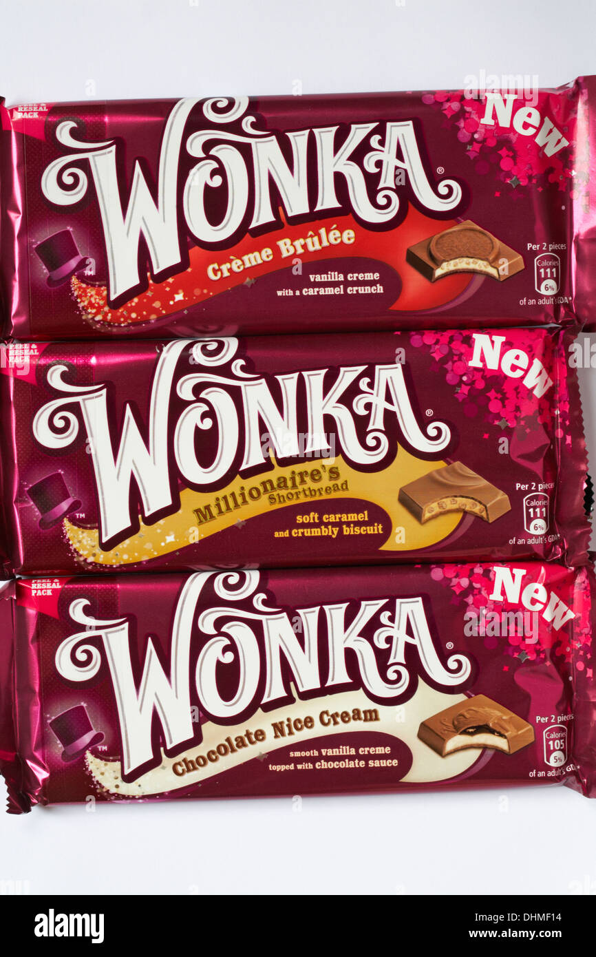New Wonka chocolate bars - Creme Brulee, Millionaire's shortbread ...