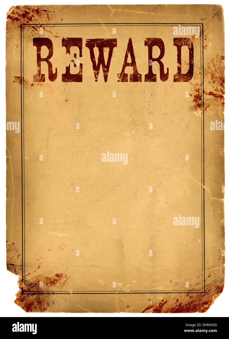 Bloody Stained Old Western Reward Poster Made From Real Antique 1800s Paper    Stock Image  Missing Reward Poster Template