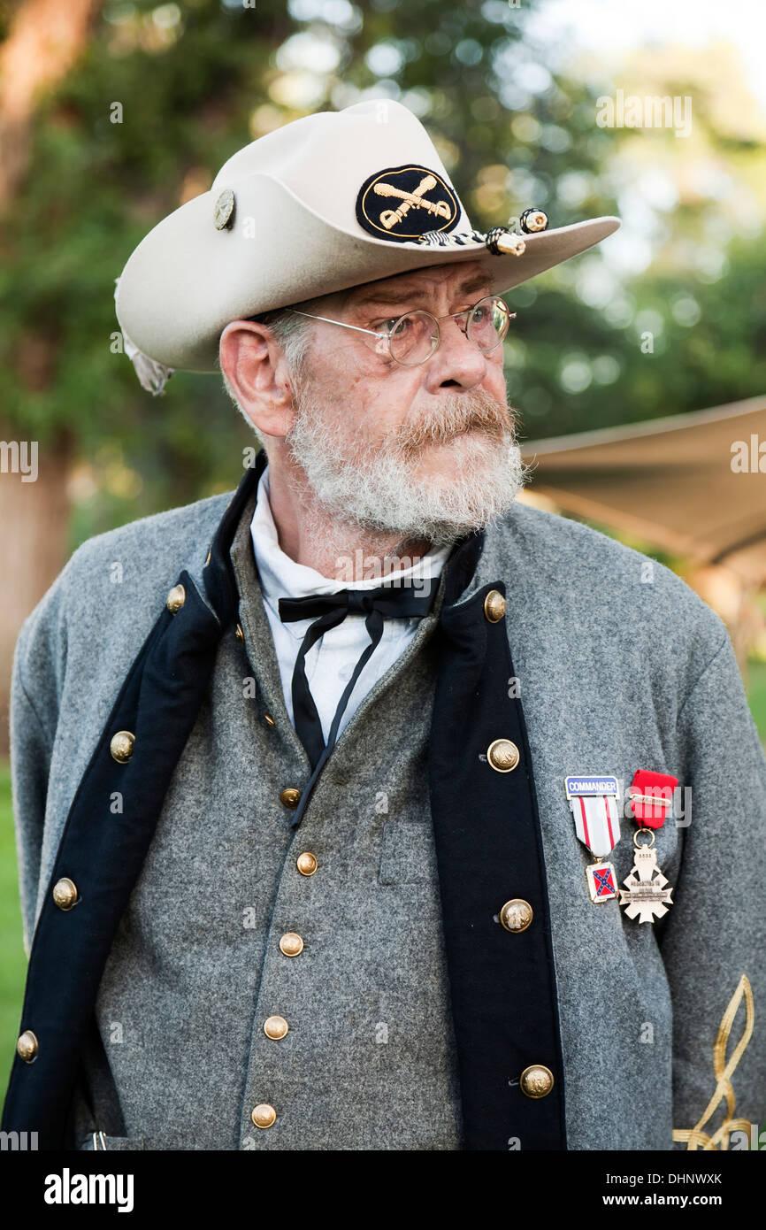Civil war era confederate commander reenactor fort stanton live fort stanton new mexico usa